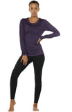 icyzone Women's Workout Yoga Long Sleeve T-Shirts with Thumb Holes