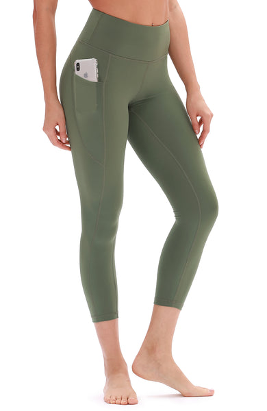 icyzone Yoga Pants for Women - High Waisted Workout Leggings with Pockets, Athletic Capris Exercise Tights