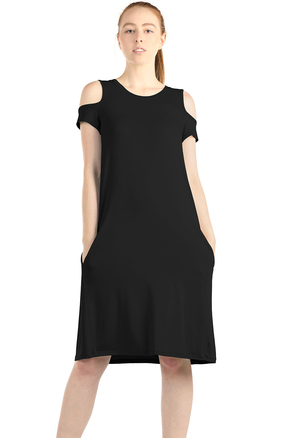 icyzone Casual Summer Dress for Women - Cold Shoulder T-Shirt Midi Dresses with Pockets