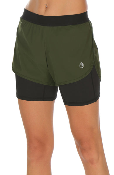 icyzone Workout Running Shorts with Pockets - Women's Gym Exercise Athletic Yoga Shorts 2-in-1