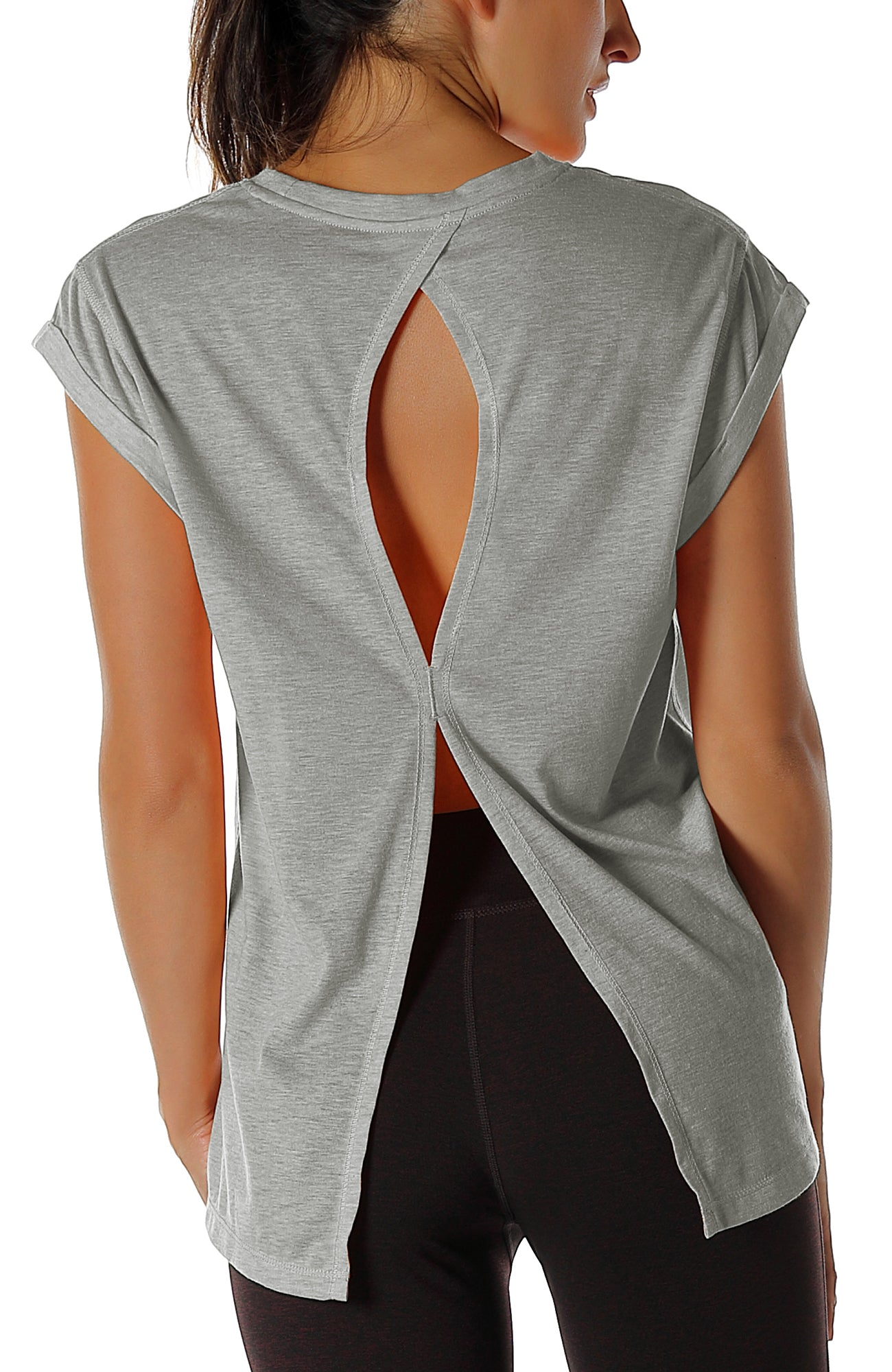 Pack of 2 icyzone Open Back Workout Top Shirts Yoga t-Shirts Activewear Exercise Tops for Women