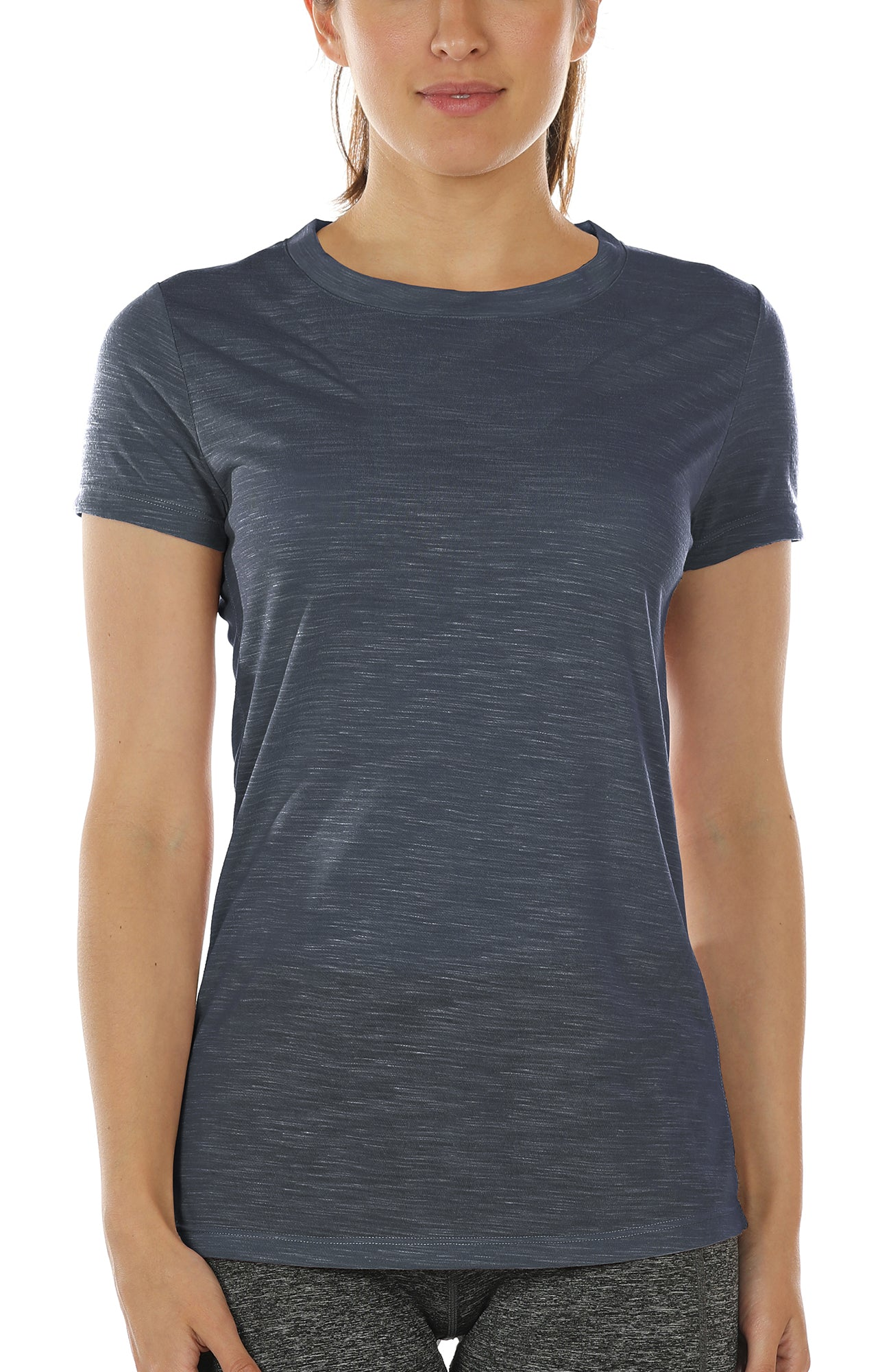 7905455883e7a icyzone Workout Shirts for Women - Yoga Tops Gym Clothes Running Exercise  Athletic T-Shirts