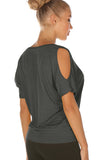 icyzone Yoga Tops for Women - Cold Shoulder Short Sleeves Casual T-Shirts Loose Fit
