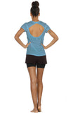icyzone Activewear Fitness Yoga Tops Workout V Neck Open Back T-Shirts for Women