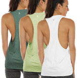 icyzone Yoga Tops Activewear Workout Clothes Sports Racerback Tank Tops for Women (Pack of 3)