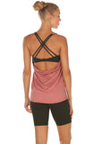 icyzone Workout Tank Tops Built in Bra - Women's Strappy Athletic Yoga Tops, Exercise Running Gym Shirts