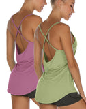 icyzone Workout Tank Tops for Women - Athletic Yoga Tops Open Back Strappy Running Shirts (Pack of 2)