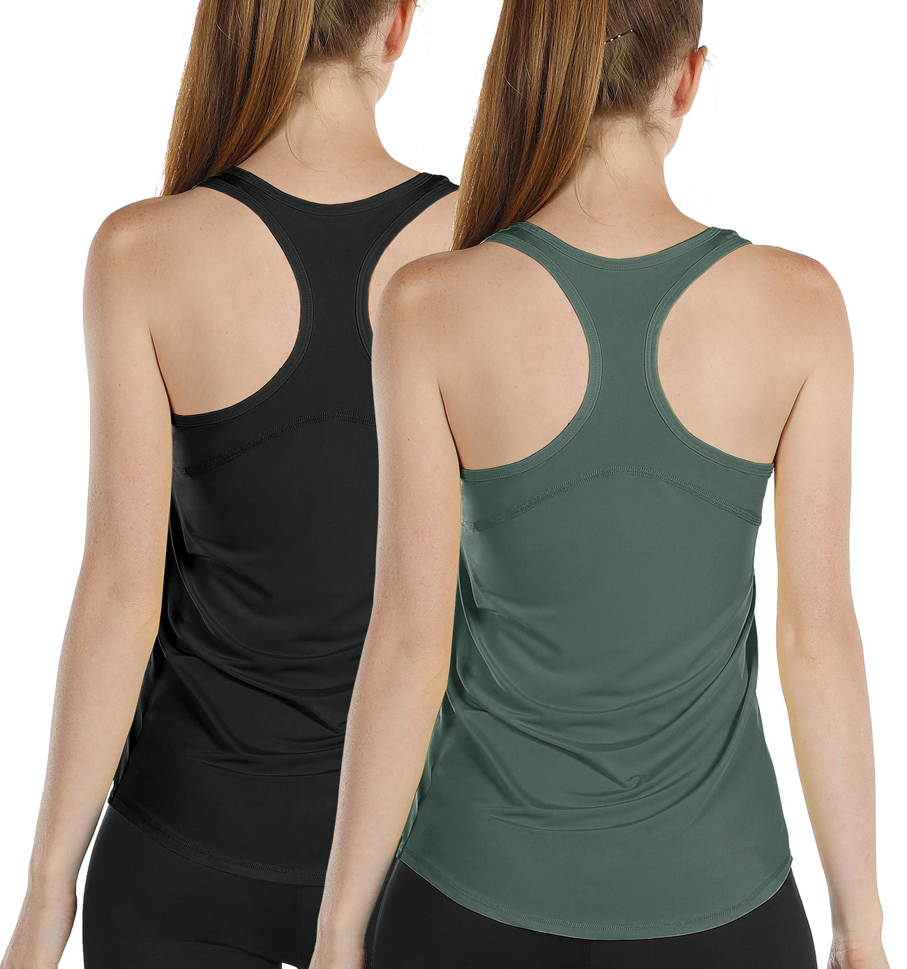 Athletic Yoga Tops icyzone Workout Tank Tops for Women 2-Pack Racerback Running Vest Top