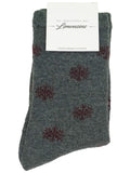 Chaussette Allover Flocons - Gris/Bordeaux - 15/18, 19/22, 23/26, 27/30, 31/34, 35/38