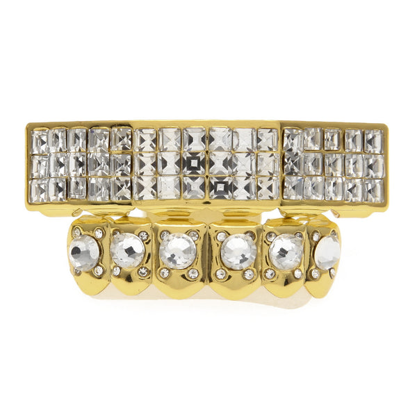 Silver Gold Plated Iced Out Square Rhinestone Grillz