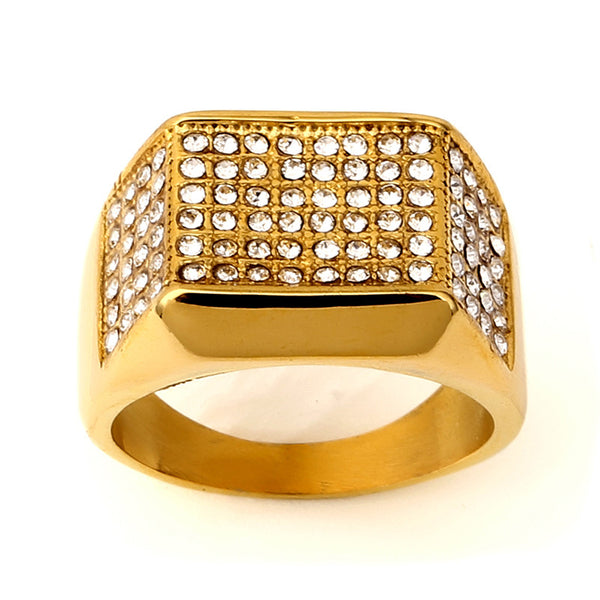 Square Paved Ring Iced-out Cz Gold Ring