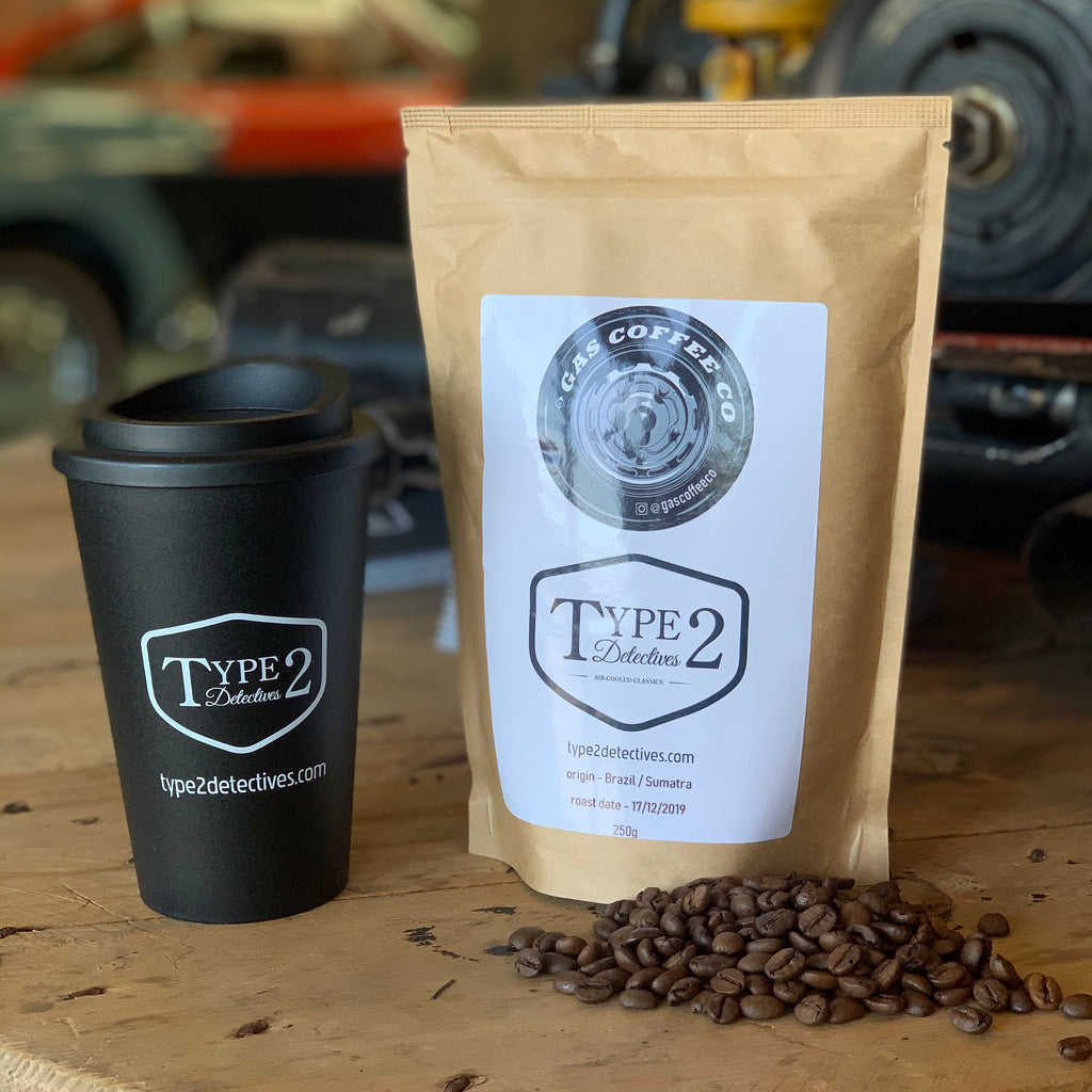 Type 2 Detectives Gas Coffee (Beans or Filter) and Reusable Cup Combo