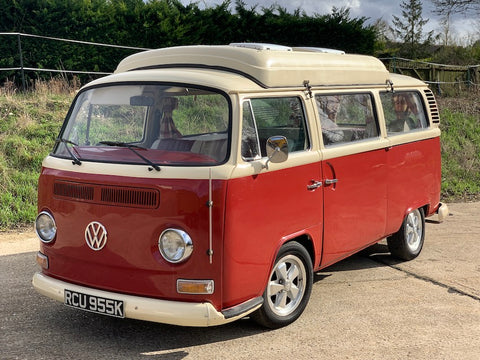 Right Hand Drive 1971 Dark Red and Cream Bay Window Camper
