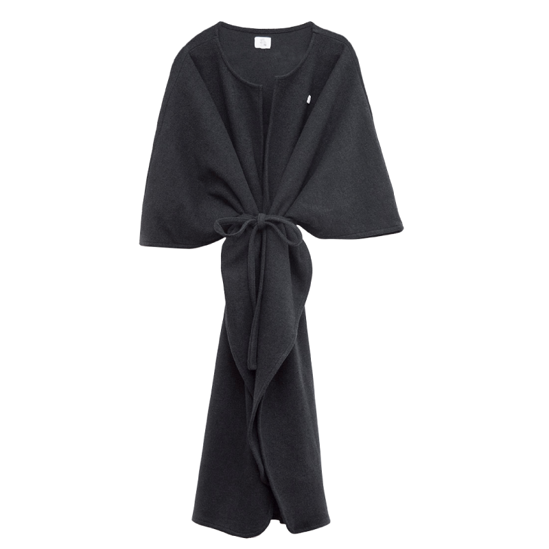 Shy Vibes Club Power Poncho Black Ecological Wool
