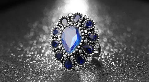 Fashion Sapphire Rings For Women Big Crystal Flower