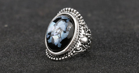 Luxury Sapphire Shells Resin Ring For Women