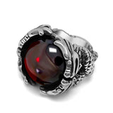 Image of Cool Steel Mens Rings With Big Black/Red Stone