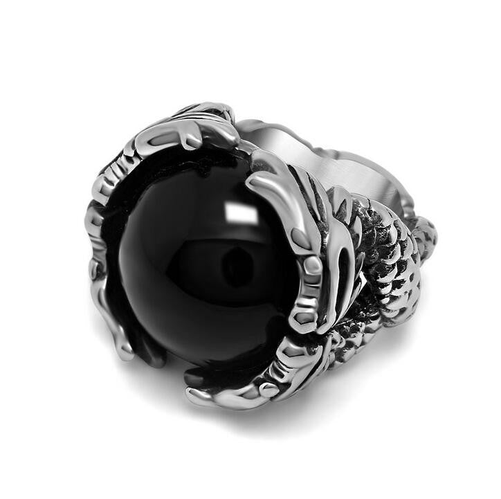 Cool Steel Mens Rings With Big Black/Red Stone