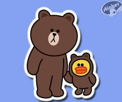 Line Friends Brown Vinyl Dope Sticker Decal For Skateboard Luggage Laptop 84mm x 66mm