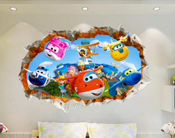 Super Wings Cartoon Break The Wall 3D Wall Sticker Decal