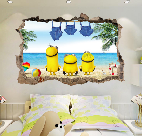 Despicable Me Minions Break The Wall 3D Wall Sticker Decal