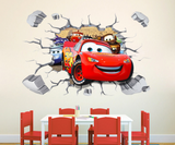 Lightning McQueen Cars Break The Wall 3D Wall Sticker Decal