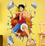 One Piece Japanese Amine Comic Break The Wall 3D Wall Sticker Decal