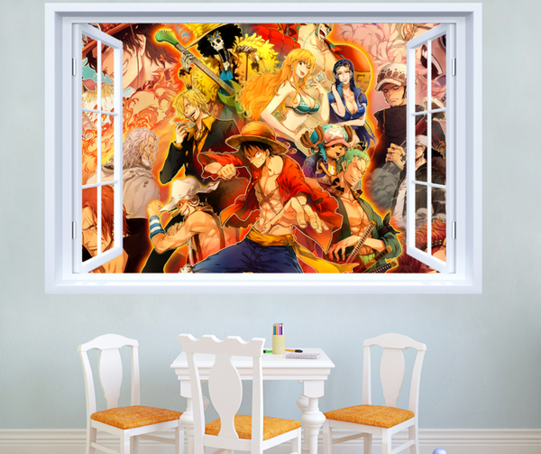 One Piece Japanese Amine Comic Window 3D Wall Sticker Decal