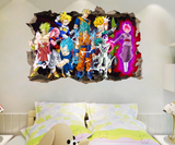 Dragon Ball Z Goku Break The Wall 3D Wall Sticker Decal