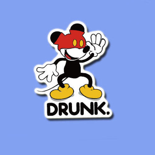 Funny Mickey Mouse Drunk Vinyl Sticker Decal