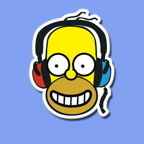 Homer Simpson Headphone Vinyl Sticker Decal