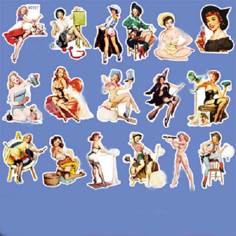 17 x Vintage Girls Vinyl Sticker Pack