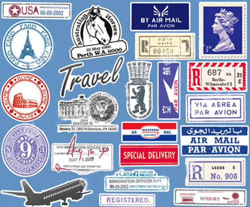 22 x Vintage Stamps Vinyl Sticker Pack