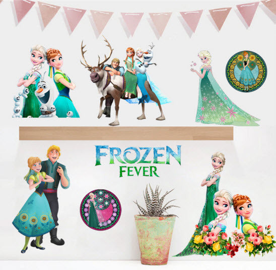 Forzen Fever Cartoon Window Wall Stickers Vinyl Decals
