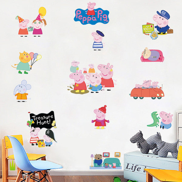 Peppa Pig Family Cartoon Window Wall Stickers Decals