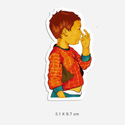 Nose Picking Boy Vinyl Sticker Decal