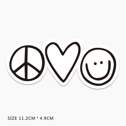 Peace Heart Smile Vinyl Sticker Decal