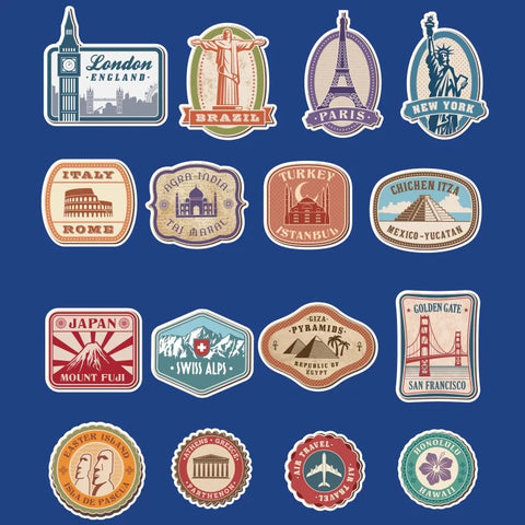 16 x Travel World Famous Cities Vinyl Sticker Pack
