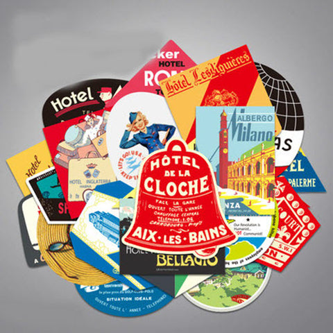 25 x Vintage World Tour Travel Famous Cities Vinyl Sticker Pack