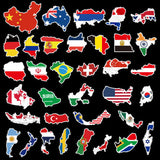 35 x National Country Map Vinyl Sticker Pack
