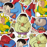 5 x Funny Fat Superheroes Vinyl Sticker Pack