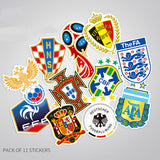 11 x 2018 World Cup Russia Vinyl Sticker Pack