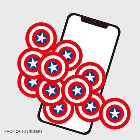 10 x Captain America Logo Mini Sticker Pack