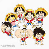 7 x One Piece Luffy Vinyl Sticker Pack