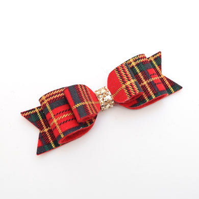 Tartan Fabric Felt Bow - Medium