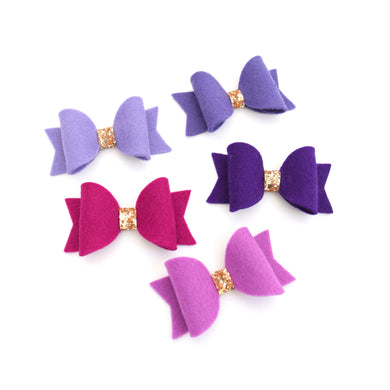 Mini Felt Bows - Purples
