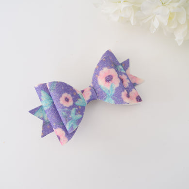 Purple Floral Glitter Bow