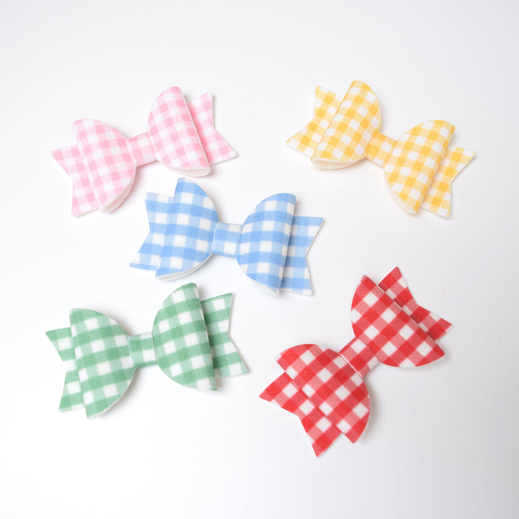 Mini Gingham Fabric Felt Bow