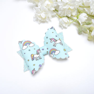 Blue Rainbow and Unicorn Bow