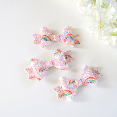 Mini Rainbow Glitter Bow - Pink
